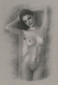 Female Nude ORIGINAL DRAWING Charcoal Chalk Fine Art woman lady NO RESERVE nr