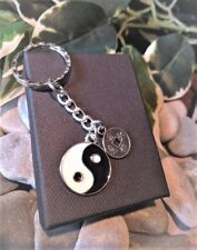 Handmade Lucky Chinese Coin and Yin Yang Silver Plated Keyring/bag Charm.