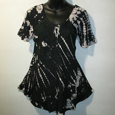 Top Fits XL 1X 2X 3X Plus Black Tie Dye Neck Ties Lace Sleeve A Shaped NWT G783