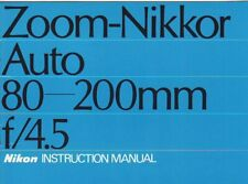 Nikon Zoom-Nikkor 80-200mm f/4.5 Genuine, User Manual, Guide, Instructions, Book