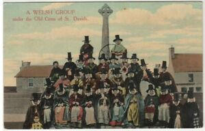 St Davids Pembs. Wales Colour Printed Postcard Welsh Women in Costume c.1912
