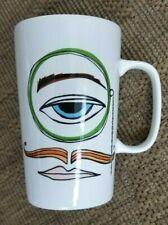 STARBUCKS 16 oz ceramic COFFEE CUP mug ONE EYE abstract mustache lips 2014