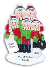 Fun in the Snow Family of 5 Personalized Family Ornament by Deb & Co.