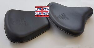 BLACK LEATHER STANDERED   HARLEY STYLE SADDLE SEATS TRIUMPH ROYAL ENFIELD