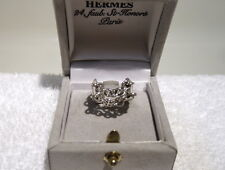 AUTHENTIC HERMES BEAUTIFUL DOUBLE LOOSE CHAIN STERLING SILVER RING SIZE 5 EU 51