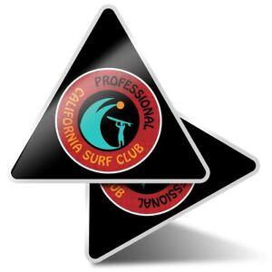 2 x Triangle Stickers 10 cm - California Professional Surf Club Surfing  #5506