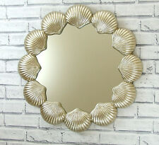 """Large Round Decorative Champagne Silver Sea Shell Bathroom Style Wall Mirror 24"""""""