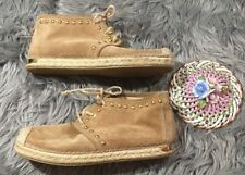Stuart Weitzman Mojave Suede Espadrilles Boots Tan Gold Studded 7.5 Lace Up