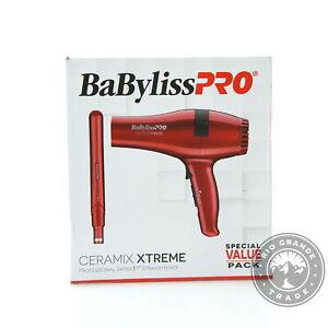 OPEN BOX BaByliss Pro Ceramix Xtreme Straightening Flat Iron & Dryer Set in Red