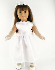 White wedding clothes dress&glove for 18inch American girl doll party b251