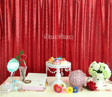 4FT x 6.5FT Sparkly Red Sequin Glamorous Tablecloth/Backdrop for Wedding Decorat