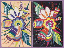 2 Single VINTAGE Swap/Playing Cards DECO ABSTRACT FLOWERS MINT