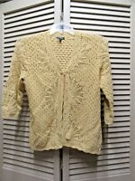 Anne Klein Cardigan sweater top Womens size M open front 3/4 sleeve mustard