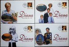 1998 Diana Princess Of Wales SET 4 COMMEMORATIVE COVERS  tonga  VERY GOOD