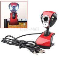 USB 50M 6 LED Night Vision Webcam Camera Web Cam w/ Mic Clip for PC Laptop Skype