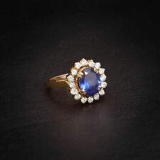 Pave 4.64 Cts Natural Diamonds Sapphire Cocktail Ring In Fine Hallmark 14K Gold
