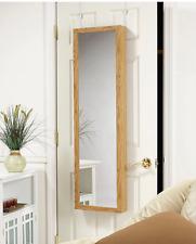 Oak Wood Hanging Wall Mount Mirror Jewelry Armoire Storage Cabinet Box Organizer