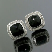 David Yurman 925 Sterling Silver Diamond 11mm Black Onyx Albion Earrings