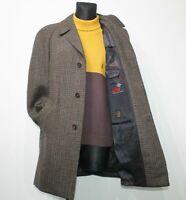 FISCHER Germany Wool Coat 70s Vintage Tweed Overcoat Brown Retro Mens EU48 UK 38