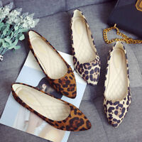 Fashion Women Suede Leopard Print Flat Shoes Pointed Casual Breathable Shoes