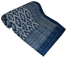 Indian Embroidery Kantha Quilt Bedspread Block Print Throw Cotton Blue