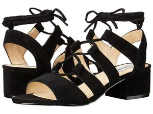 Steve Madden Black Suede Kittyy Strappy Open Toe Sandals Womens Size US 7.5M