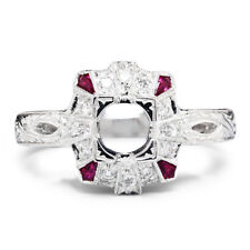 Ruby Semi Mount Ring Setting with Diamonds 18K White Gold .25ctw Fits 5MM