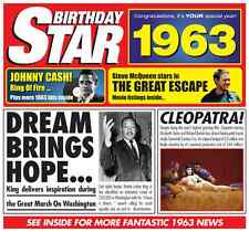 54th 1963 Birthday Gifts - 1963 Chart Hits Britpop CD and 1963 Greetings Card