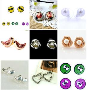 bird, emoji face, pearl, flower, heart, resin rose flower stud earrings, choices