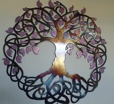 "Tree of Life, Metal Art, 23.5"", Wall Decor Colored Leaves"
