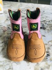 John Deere Johnny Poppers Baby Girls Pink Cowboy Leather Boots Sz 4 Months