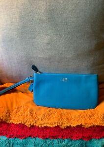 Coach Azure Sky Blue Cross Grain Leather Credit Card Slots Zip Clutch Wristlet