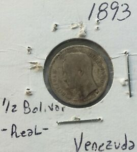 1893 Venezuela 1/2 Bolivar Silver Coin Gram 2.500