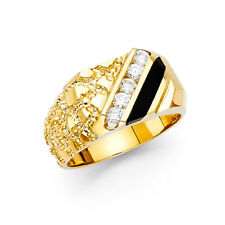 Onyx Nugget Style Engagement Fashion Ring Band Solid Men 14k Yellow Real Gold Cz