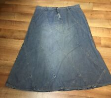 Womens Denim Skirt Size 16-18 Boho Festival Modesty Patchwork Blue