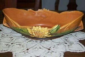 Roseville Pottery USA - Water Lily Brown - Lg. Console Bowl 443-12 - Flawless