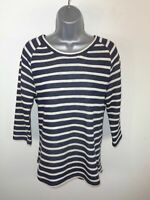 WOMENS FAT FACE NAVY/NATURAL STRIPED LONG SLEEVED CASUAL CREW NECK JUMPER UK 8
