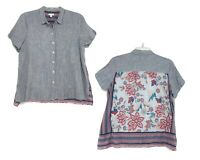 J Jill Linen Mixed Material Print SS Blouse Sz PL Striped Front Floral Back