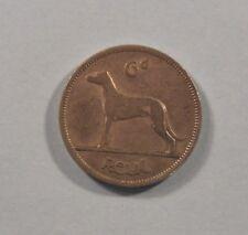 6 Pence Ireland 1946 World Coin Irish Harp Wolfhound Rare KM13a Eire six d