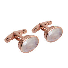 Rainbow Moonstone Cufflinks 925 Sterling Silver Rose Gold Plated Men's Jewelry