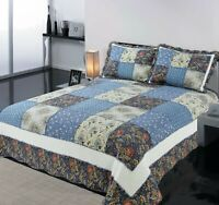 Coverlet Vintage Patchwork Bedspread Quilt Cotton No Polyester King Single Blue