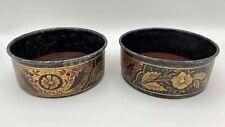 Antique Pair Toleware Painted Wine Coasters Art Nouveau Gilded Floral Motif
