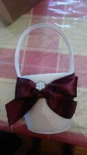 New Romantic Satin Bowknot Flower Girl Basket Burgundy/ Ivory