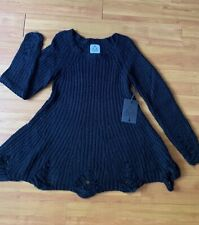 UNIF BLACK KNIT SWEATER DRESS SHREDDED SIZE SMALL S NWT