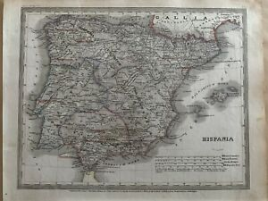 1852 ANCIENT SPAIN & PORTUGAL ANTIQUE HAND COLOURED MAP BY MEYER