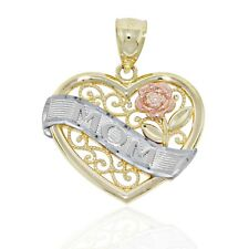 """Tri-Toned Heart with """"Mom"""" and Flower Charm, 10k Solid Gold"""