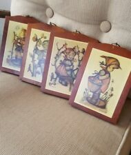Lot of 4 Vtg Hummel Printed Wooden Wall Plaques/Hangings/Signs West Germany Pair