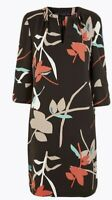 New With Tags M&S ladies Brown Mix Tunic Dress Sz 12 Occasion 3/4 Sleeve Party