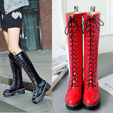 Womens Combat Lace Up Patent New Motorcycle Knee High Boots Shoes ALL US Sz 8