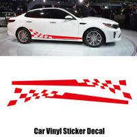 2x Rot Auto Gitter Aufkleber Rennstreifen Seitenaufkleber Streifen Zierstreifen